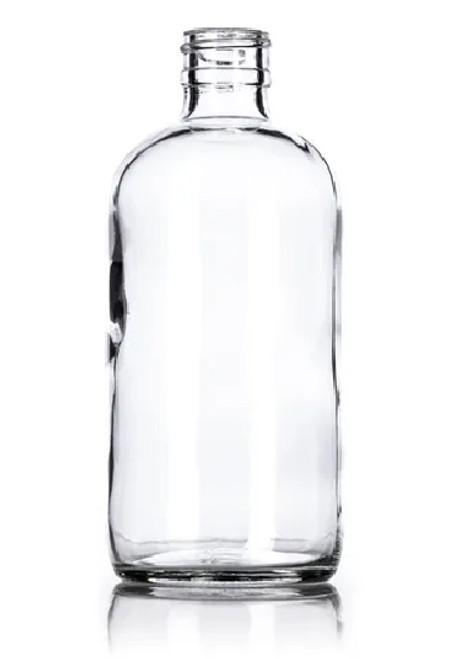 8 oz. Clear GLASS Boston Round