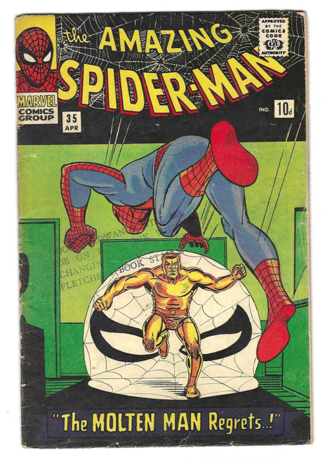 The Amazing Spider-Man #35 - Second Appearance Of Molten Man - 1966 - Marvel Comic - FR