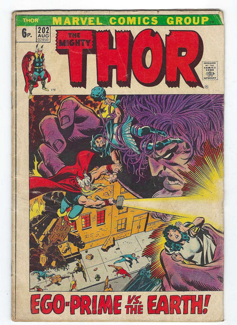 Thor #202 -  First Appearance Of Ego-Prime - 1972 - Marvel Comic - FR