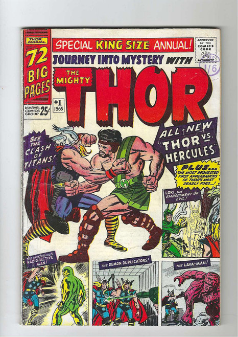 Journey Into Mystery Annual #1 - The Mighty Thor - First Appearance Of Hercules - 1965 - Marvel Comic - GD
