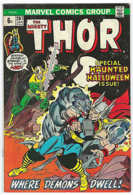 The Mighty Thor #207 - Special Haunted Halloween Edition - 1973 - Marvel Comic - VG