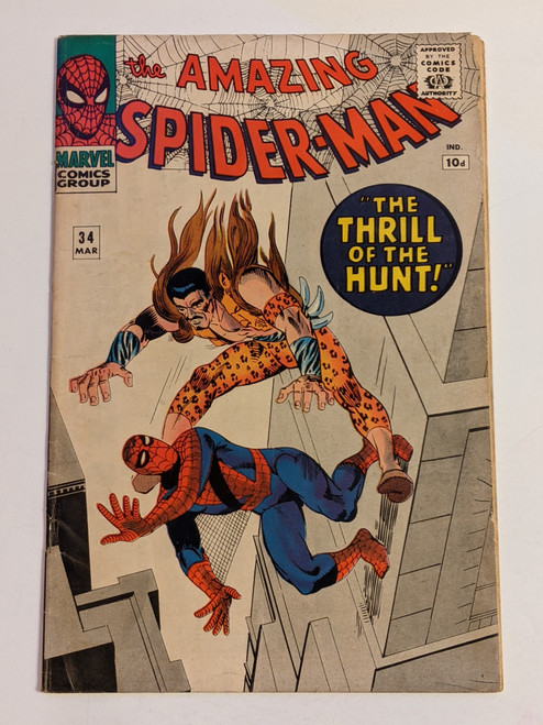 Amazing Spiderman #34 - 1965 - 2nd Appearance Of Gwen Stacy/Harry Osbourne -Marvel Comic - VG