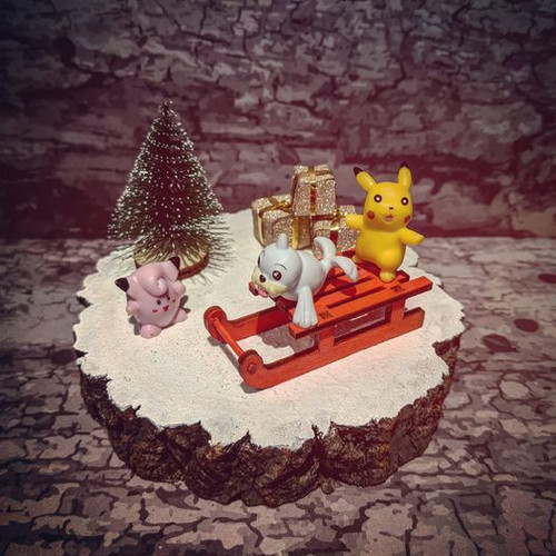 Hand-Crafted Pokemon Christmas Pikachu Sled Diorama - Wow Exclusive