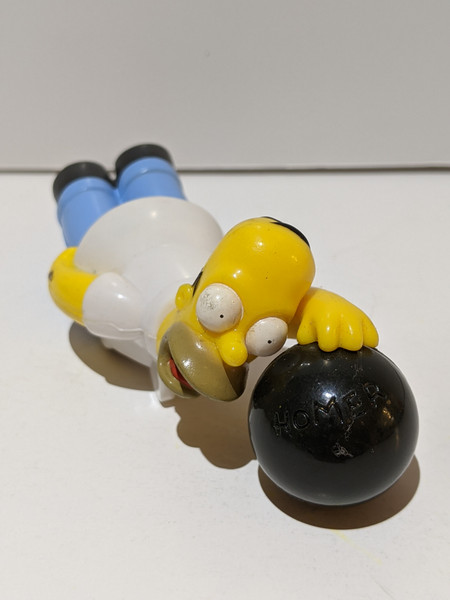 The Simpsons Vintage Burger King Simpsons Collection - Homer Simpson Bowling Pullback Figure - 2001 - Burger King - VG
