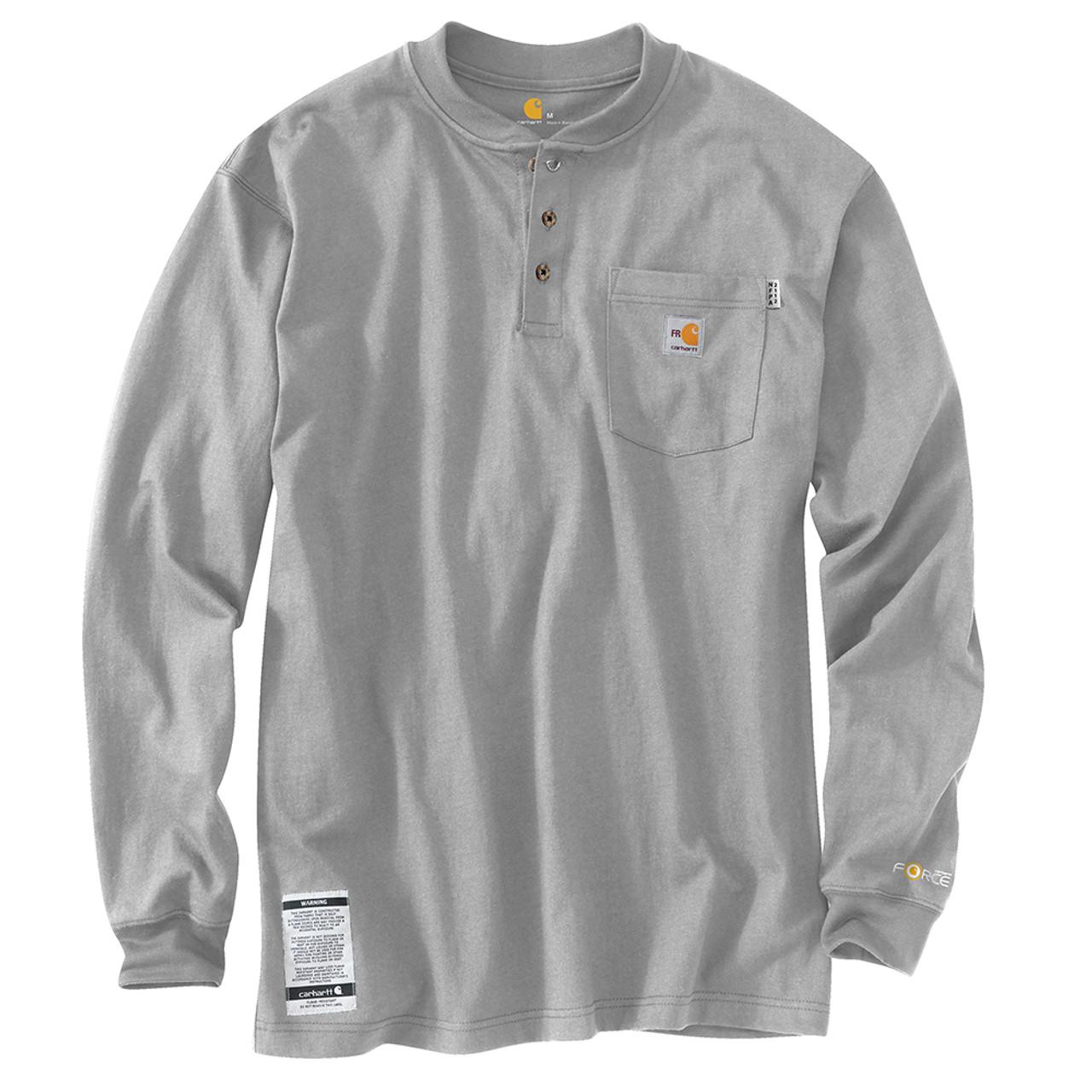23443ea16 Carhartt 8.9 Men's Flame Resistant Force Cotton Long Sleeve Henley - 100237