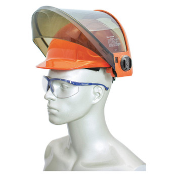 12 cal/cm² Weight Balancing face shield with PrismShield™, transparent chin guard, and North Zone hard hat