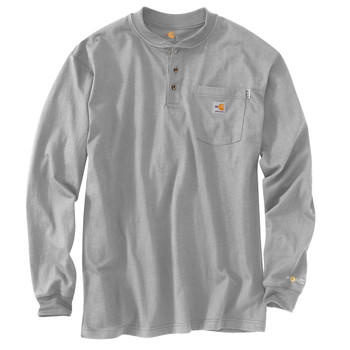 100237 Men's Flame Resistant Force Cotton Long Sleeve Henley