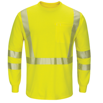 Bulwark Hi Visibility Lightweight Long Sleeve T Shirt SMK8HV 8.3 calories/cm²