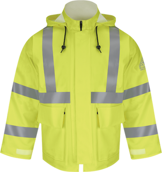 Bulwark Flame Resistant Hi-Visibility Rain Jacket ASTM F 2733 JXN4YE