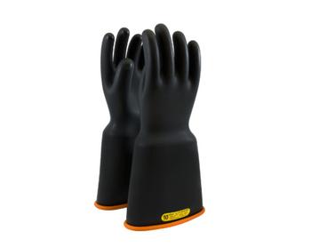 "Class 2 Gloves 16"" Length 17,000 VAC PIP Novax Bell Cuff Black Orange Rubber Gloves"