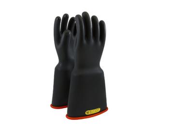 "Class 2 Gloves 16"" Length 17,000 VAC PIP Novax Bell Cuff Black Red Rubber Gloves"