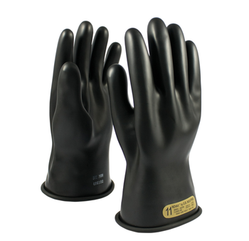 "Class 00 Gloves 11"" Length 500 VAC PIP E0011B Black Novax Rubber Gloves"