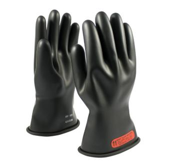 "Class 0 Glove, 11"" Length 1,000 VAC PIP E011B Black Novax Rubber Gloves"
