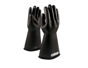 "Class 1 Glove, 14"" Length 7,500 VAC PIP E114B Black Novax Rubber Gloves"
