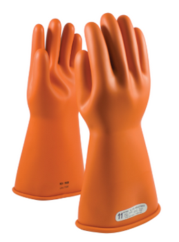 "Class 1 Glove, 14"" Length 7,500 VAC PIP E114O Orange Novax Rubber Gloves"