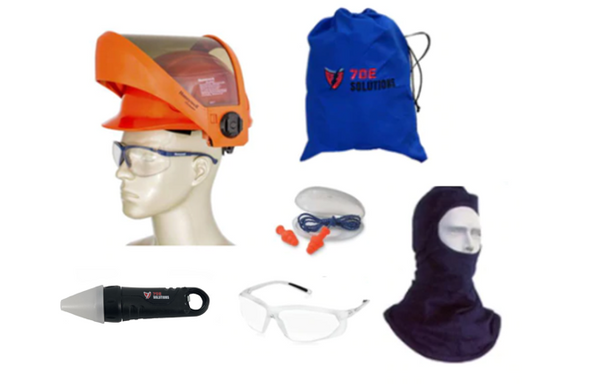70E Solutions 12 cal/cm² AS1200HAT Face Shield Kit 2 with Flashlight - 70EKIT-12FLAS