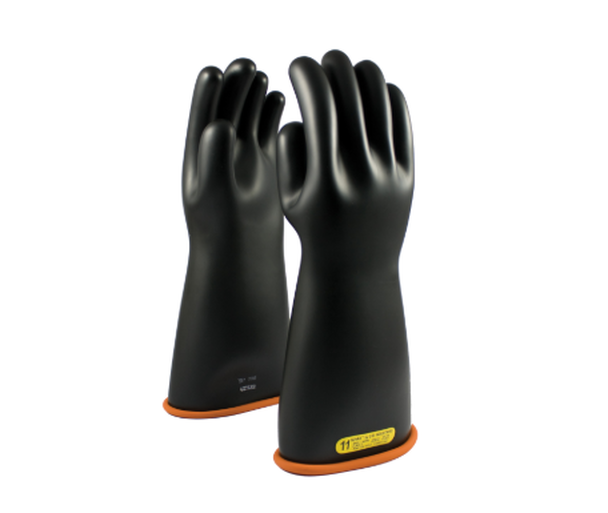"Class 2 Gloves 16"" Length 17,000 VAC PIP Novax Black Orange Rubber Gloves"