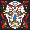 6x6 Tile Day of the Dead Skull with Webs