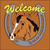 6x6 Tile Welcome Horse & Horseshoe Terracotta 7957R
