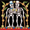 6x6 Tile Day of the Dead Skiier