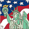6x6 Tile Statue of Liberty US Flag 8209A