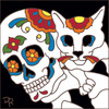 6x6 Tile Day of the Dead Guy with Cat 8325A