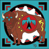 6x6 Tile Native American Buffalo 7869A