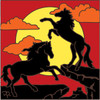 6x6 Tile Wild Horses Sunset Silhouette 8051A