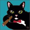 6x6 Tile Black Cat w/Bow Tie & Cigar