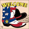 6x6 Tile Welcome Flag Boot 8203A
