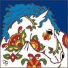 6x6 Tile Talavera Horse II Cobalt