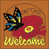 6x6 Tile Welcome Butterfly Terracotta 7954R