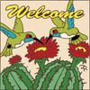 6x6 Tile Welcome Hummingbirds w/ Barrel Cactus Sand 7859A