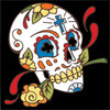 6x6 Tile Day of the Dead Skull with Rose