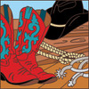 6x6 Tile Cowboy Boots and Hat