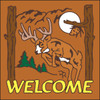 6x6 Tile Welcome Leaping Deer Terracotta 7948R