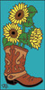 3x6 Tile Boot with Sunflowers Turquoise 3028TQ