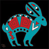 6x6 Tile Native American Jack Rabbit 7998A