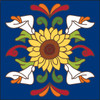 6x6 Tile Talavera Sunflower with Calla Lilies Cobalt