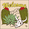 6x6 Tile Welcome Skull & Cactus Sand 7941A