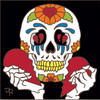 6x6 Tile Day of the Dead Broken Heart Skull