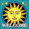 6x6 Tile Welcome Sunface Turquoise