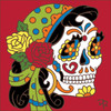 6x6 Tile Day of the Dead Gypsy Skull