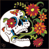 6x6 Tile Day of the Dead  Blooming Skull