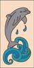 3x6 Tile Dolphin on Wave Sand