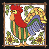 6x6 Tile Patterned Rooster with Sunflowers White