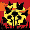 6x6 Tile Butterfly Sunset Silhouette 8056A