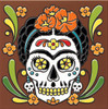 "6X6 Tile Day of the Dead Frida Kahlo ""Naturals"""