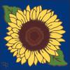 6x6 Tile Sunflower on Cobalt 8290C