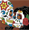 """6X6 Tile Day of the Dead Chihuahua """"Naturals"""""""